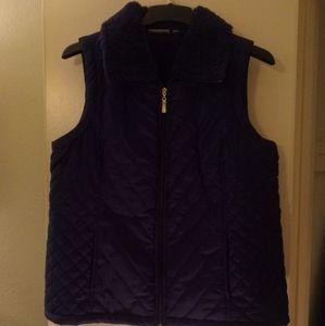 Denim & Co Quilted Blue Vest Size Large